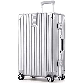Bagage /à Main Taille 20 Durable avec Serrure approuv/ée par la TSA /à Disque de Roulette /à 360 degr/és /… Silver Valise en Aluminium Black