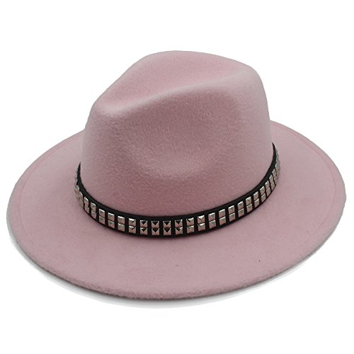 (LinLiQiao- Frauen Männer Wolle Fedora Hut für Gentleman Lady Jazz Hüte mit Punkband (Farbe : 4, größe : 57-58CM))