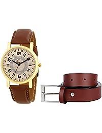 Jack Klein Stylish Golden Dial Round Dial Quartz Analogue Watch And Brown Belt
