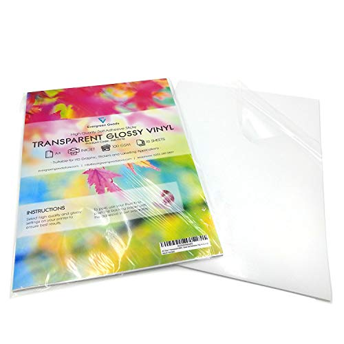 10 Sheets High Quality A4 Clear/Transparent Vinyl Glossy Self Adhesive Sticker Quality Inkjet Printable Non Waterproof Gloss Finish- Make Your own Stickers, Products Labels, Signs and More