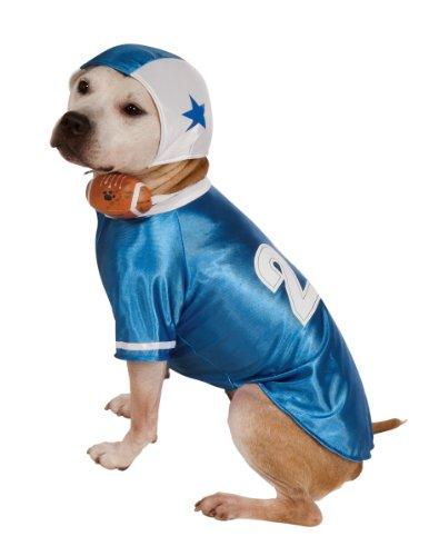 Football-spieler Kostüme (Rubie's Blau Fußball Player Hund Kostüm, Large, Blau)