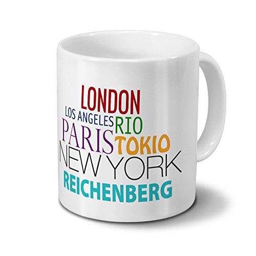 Städtetasse Reichenberg - Design Famous Cities of the World - Stadt-Tasse, Kaffeebecher, City-Mug, Becher, Kaffeetasse - Farbe Weiß