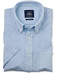 ee5ccbe47 Savile Row Men's Sky Blue Linen-Blend Classic Fit Button-Down Short Sleeve  Casual