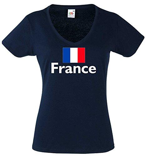 world-of-shirt Damen T-Shirt France / Frankreich Trikot navy M