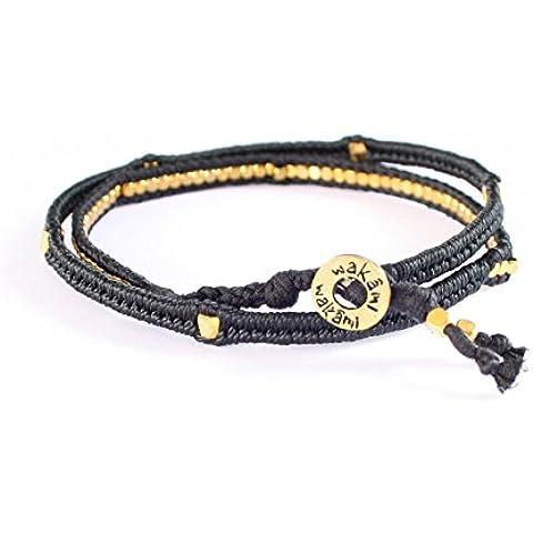 Hecho a mano Harmony grabado chapado en oro negro con cuentas Wrap pulsera y collar con diseños de indígenas