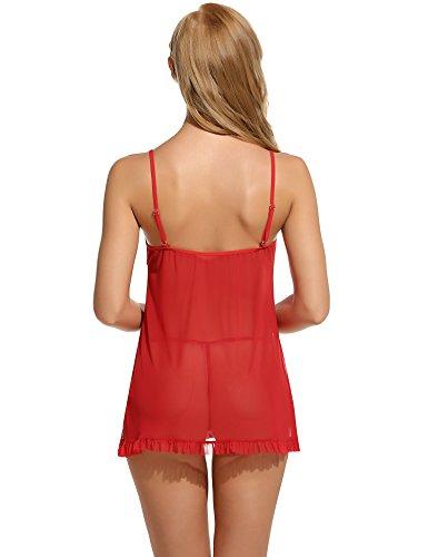 Avidlove Damen Semi-Transparente Vorne Offene Babydoll Nachtkleid mit Vornem Band Verschluss A Rot