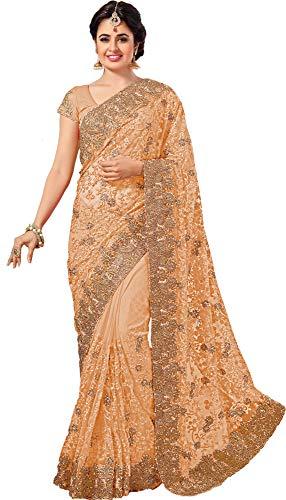 SareeShop Indian Women\'s Net Saree with Blouse Piece (Beige)