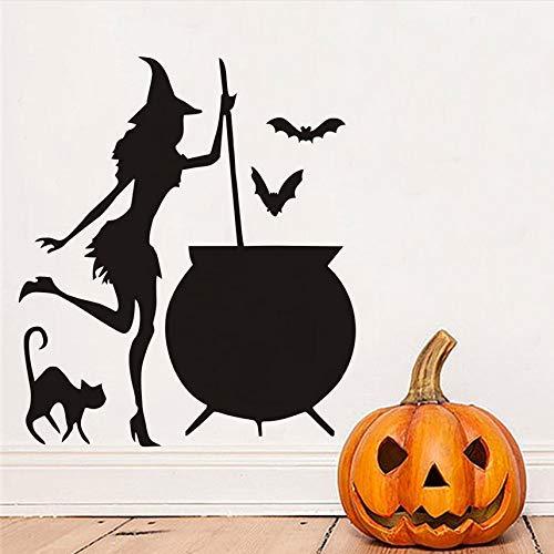 ufkleber Halloween Hexe Kessel Trank Bat Black Cat Vinyl Diy Wandaufkleber Wohnzimmer Kunst Aufkleber Dekoration Zubehör 43X37 Cm ()