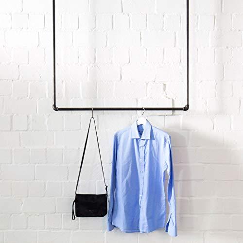 Various deckenbefestigte Kleiderstange im Industrie-Design 100 x 100 cm - schöne Wand-Garderobe zum Aufhängen von Jacken, Mänteln - schwarz, aus Metall, stabil
