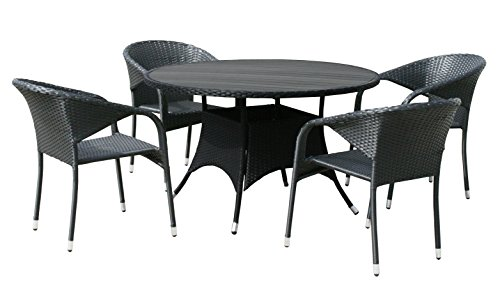 Kmh Gartensitzgruppe Aus Polyrattan 1 Runder Tisch Und 4