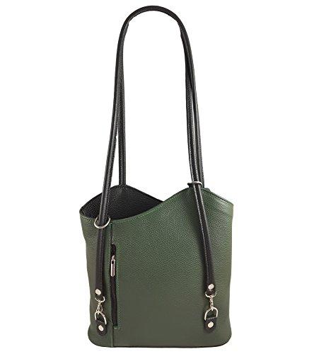 2 in 1 Handtasche Rucksack Designer Luxus Henkeltasche aus Echtleder in versch. Designs Glattleder Grün-Schwarz