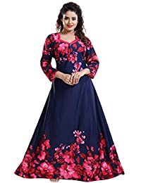 YKI® Women's Beautiful Print Full-Flare Nighty with Long Sleeves/Night Gown/Nightwear