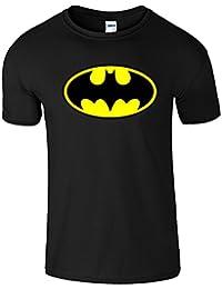 SnS Online hommes de garçons de filles de dames enfants unisexe T-shirt T-Top Coton Batman T-shirt - Noir (Black) - Jeunesse (XS) Enfants 3-4 ans