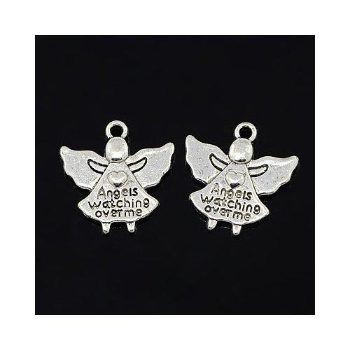30 x argento antico tibetano 19mm ciondoli pendente (angels watching over)