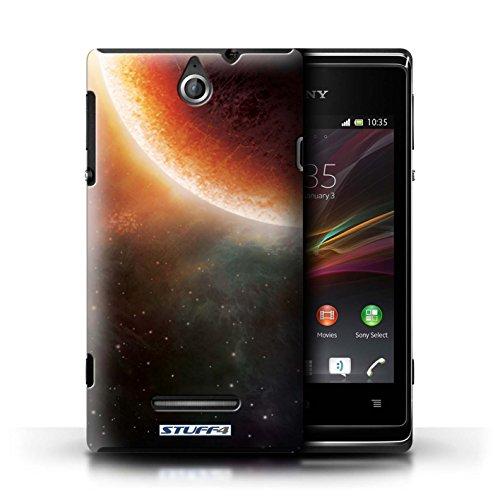 Kobalt® Imprimé Etui / Coque pour Sony Xperia E / Nébuleuse Pourpre conception / Série Cosmos Éclipse Orange