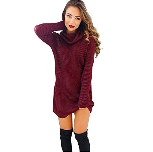 Binggong Rollkragenpullover Damen Lang Herbst Winter Warm Langarmshirt Sweatshirt Bluse Strickjacken Pullover (M, Wein) (Strickjacke Wein)