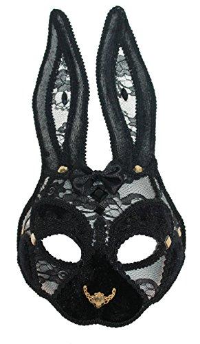 Zoelibat 84096741.008 - Augenmaske Hase aus Filz und Netz mit markanter Gold Nase, schwarz/gold (Halloween-maus-ohren)