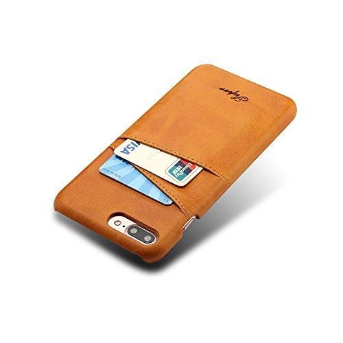 FQIAO Copertina iPhone 7 Plus,PU Pelle Protettivo Telefono Indietro Copertina Durevole Custodia con Due Slot Per Schede per Apple iPhone 7 Plus 5.5 Pollici 2016 Di Rilascio Cachi