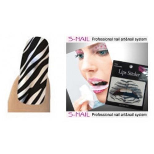 Lip Tattoo and 16 Foil Nail Set - Silver Tiger (accesorio de...