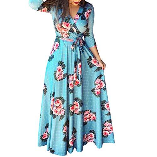 Isshop Damenrock Langes Kleid Langärmeliger, übergroßer Blumendruck für Frauen Plus Size Holiday Klei Bohemian Klei