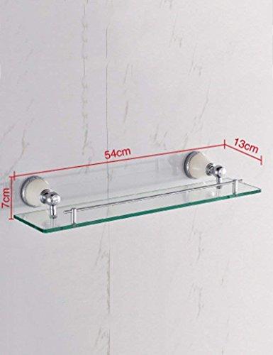DEED Wandbehang Mount Rack Toilette Toilettenartikel European-Style Kupfer Verchromt Intarsien Natural Jade Spiegel Frontrahmen Single - Layer Glas Bad Racks Lagerregal -