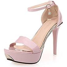 Winwintom Las mujeres sandalias open toe sandalias de tacon alto de las mujeres correa de tobillo zapatos de verano