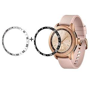 2PC Kompatibel für Samsung Galaxy Watch 42mm lünette Ring für Getriebe sportuhr klebstoff Abdeckung Kratzfest Edelstahl Schutz, lünette für Galaxy Watch 42mm für Galaxy Watch zubehör