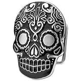 Black Mexican Katrina Dia De Muertos Skull Belt Buckle