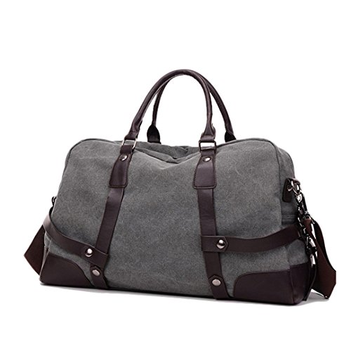 Wewod Damen Herren Reisetasche Canvas Vintage Weekender Tasche Handgepäck Sporttasche für Reise Umhängetasche Schultertasche (Grün) Grau