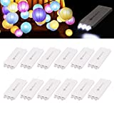 YUNLIGHTS 12 Pack Weiß LED Ballon Lichter mit 3 LEDs