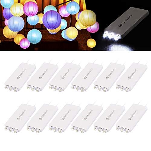 YUNLIGHTS 12Pack Weiß LED Luftballons Lichter mit 3 LEDs für Papierlaternen-Ballons Geburtstag Happy Birthday Hochzeitsdekoration, Wasserfest, Nicht-blinkend