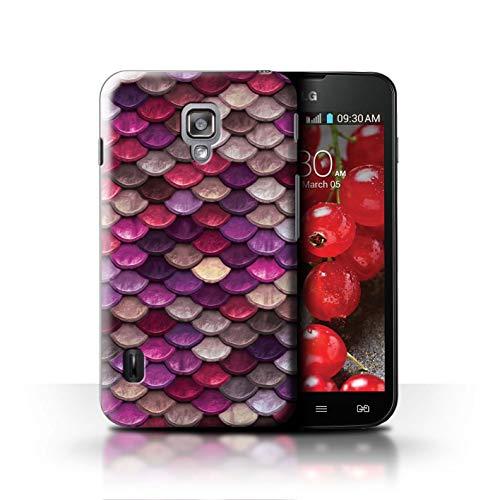Stuff4® Hülle/Case für LG Optimus L7 II Dual/Rosa/Lila Muster/Aquarell Meerjungfrau Skalen Kollektion (Dual Optimus L7 Case Lg Ii)