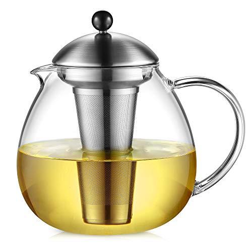 Glastal Glas Teekanne 1500ml mit 18/10 Edelstahl Teesieb Große Borosilicate Glas Teebereiter auf Stove Glaskanne mit Entfernbar Seib - Eine Teekanne