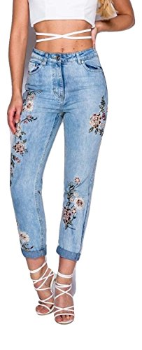Damen Blumen bestickt Denim Boyfriend Jeans EUR Größe 34-42 Bleichen