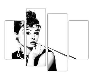 Grande Toile mur Art iconique Noir et Blanc AUDREY HEPBURN cigarette avec long Hollywood Star Décoration Chambre Home Décor imprimé photo 4Panneau 88,9cm 90cm Large/71,1cm 71cm Art Moderne