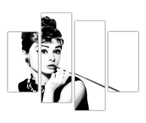 Extra Großer Leinwand Prints Art Wand Iconic schwarz und weiß Audrey Hepburn mit langen Zigarette Hollywood Star Foto Home Décor Print Raum Dekoration Bild 4Panel 88,9cm 90cm breit/71,1cm 71cm hoch Modern Art - Dekoration Foto-print
