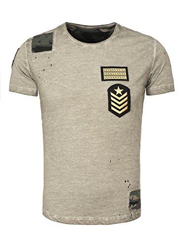 Key Largo Herren T-Shirt DESSERT Camouflage Details Patches Used Look mit Flecken und Löchern Braun