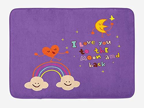 Klotr Fußabtreter, I Love You Bath Mat, Valentine\'s Bugs Heart Singing Over Rainbow Moon Dancing with Scars Beats Cartoon, Plush Bathroom Decor Mat with Non Slip Backing, 40X60 cm, Violet