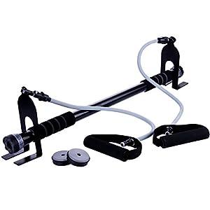 Winline Klimmzugstange, Sit-up-Stange, Türgymnastik, mit abnehmbaren Widerstandsbändern, Körperformen, Body Gym, Ganzkörpertraining, bis 100 kg (Black&Gray)