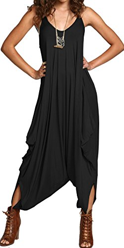 Ladies Womens All in One Summer Beach Sleeveless Baggy Romper Harem Jumpsuit Play-suit Tops BLACK UK SIZE 2XL(18-20)