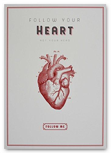 And You Look Adorable Vintage Druck Kunstdruck Follow Your Heart – Not Your Head als Poster, zur Deko Oder als Wohnaccessoire, in der Größe Din A4 Oder Din A3