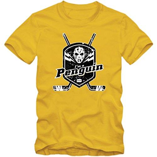 I'm a Penguin #1 T-Shirt |Herren | Eishockey | Play Offs | Fanshirt, Farbe:Gelb (Gold L190);Größe:XXL -
