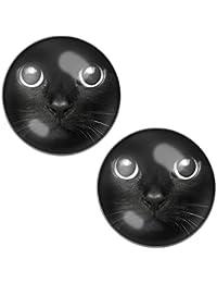 LilMents Pendientes de acero inoxidable para hombre o mujer, diseño de gato, color negro
