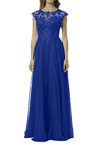 Charmant Damen Hell Blau Spitze Chiffon Festlichkleider Abendkleider Ballkleider Partykleider Lang A-linie rock Royal Blau