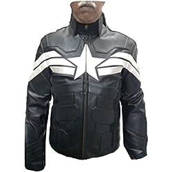 Capitán América Soldado de Invierno Chaqueta de piel de moda del hombre bestzo, Negro Negro Sheep Leather Black X-Large