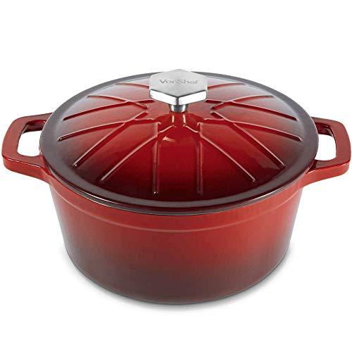 VonShef Runde Auflaufform aus Gusseinsen - 3,8 Liter Fassungsvermögen - Antihaftbeschichtet - rot
