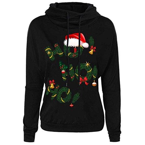 Feminine Anzug (Weihnachten Drucken Kapuzenpullover, Christmas Damen Kapuzenpullis Frauen Hemden mit Kapuze Tops Bluse Hemd Lose Pullover Mantel Sweatshirts Blusen Outerwear T-Shirt Elecenty (L, Schwarz))