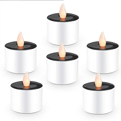 Hopeu5 6pcs Gelb Sonnenenergie-flackernde elektronische Nachtlicht-LED-flammenlose Kerze, batteriebetriebene Teelichter, Rauch-frei für Hochzeit, Geburtstag, Partei, Weihnachten, Halloween