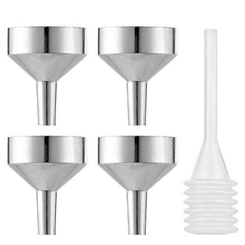 Zeagro 4 PCS Metal Small Trichter zum Befüllen mit Pipette | Aluminium Tiny Trichter/Mini Trichter/Mini Trichter für Parfüm, Zerstäuber und ätherische Öle - Löffel-pipette