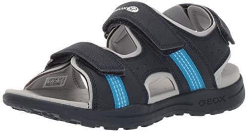 Geox VANIETT Boy J925XB Jungen Trekking Sandalen,Kinder Outdoor-Sandale,Sport-Sandale,Aussensteg,3-Fach Klett,Navy/Turquoise,30